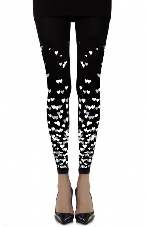 "Zohara - ""Queen of Hearts""Black Print Footless Tights"